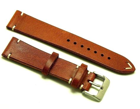 Handmade Silver - 20mm vintage brown white leather classic