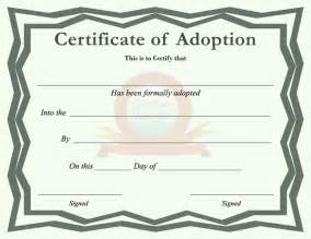 Child Adoption Certificate Template Free Certificate Of Adoption Pdf 1 Page S