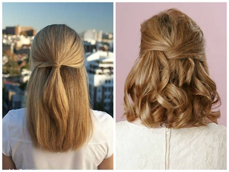 how to do half up half down hairstyles wikihow half up half down wedding hairstyles for short hair