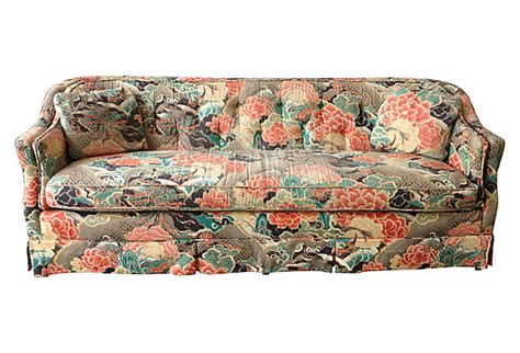 henredon tufted sofa modern vintage mix