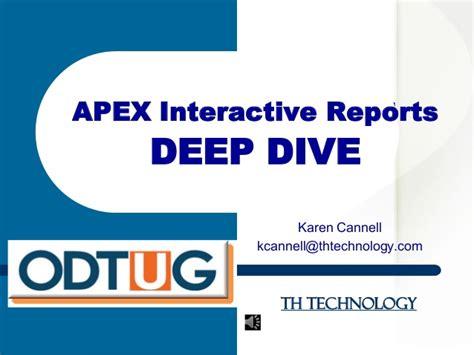 apex dive apex 5 interactive reports dive and upgrade advice