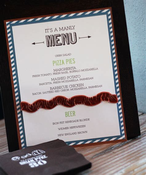 bench manly menu a quot manly quot themed 30th birthday party hostess with the