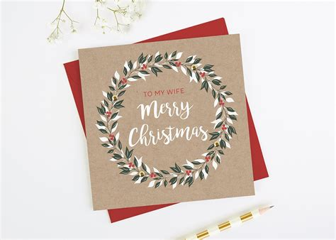 wife christmas card wreath kraft normadorothy