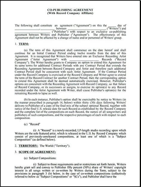 co production agreement template co publishing contract with record company affiliate
