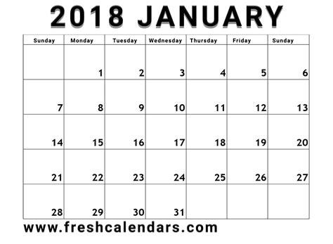 printable monthly calendar january 2018 january 2018 printable calendar templates