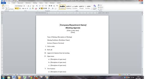 templates for agenda in word improve the way you create and use meeting papers in word