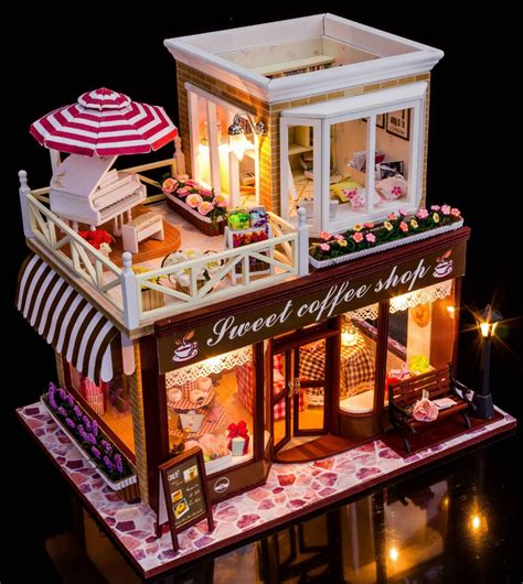 Handmade Kits - sweet coffee shop style diy doll house 3d miniature