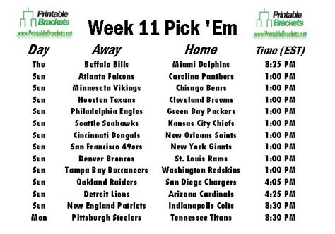 pick sheets nfl pick em week 11 pro football pick em week 11