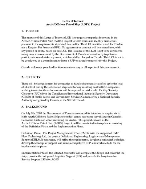 Security Release Letter Format best photos of printable letter of interest sle