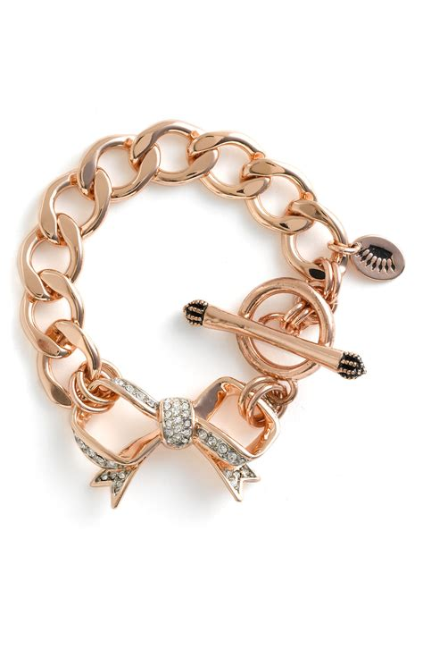 couture pav 233 bow starter charm bracelet in pink