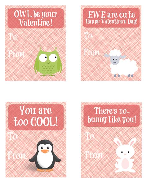 free printable animal valentines day cards cute animal printable valentine s day cards