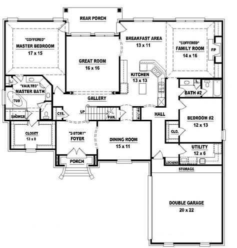 Floor Plan 4 Bedroom 3 Bath | 654026 two story 4 bedroom 3 bath french style house