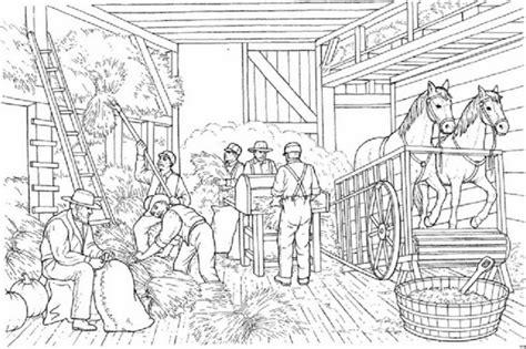 scheune malvorlage malvorlage getreideernte bauern und pferde in der scheune