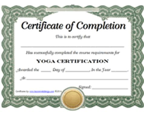 yoga certification certificate printable templates