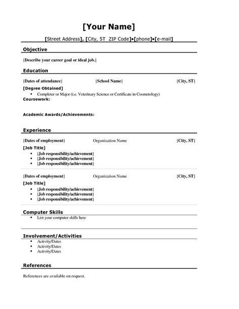 School Resume Template by Basic Resume Templates For High School Students 21 Resume