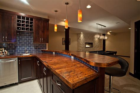 modern bar tops bar countertop ideas kitchen rustic with alder cabinets