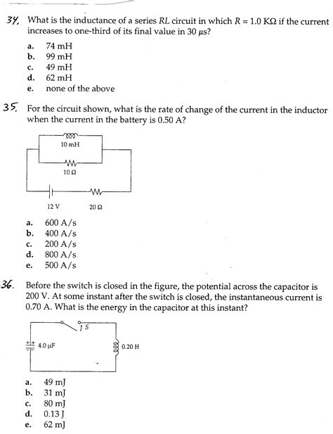 inductor questions with answers 28 images a capacitor c an inductor l and a resistor r