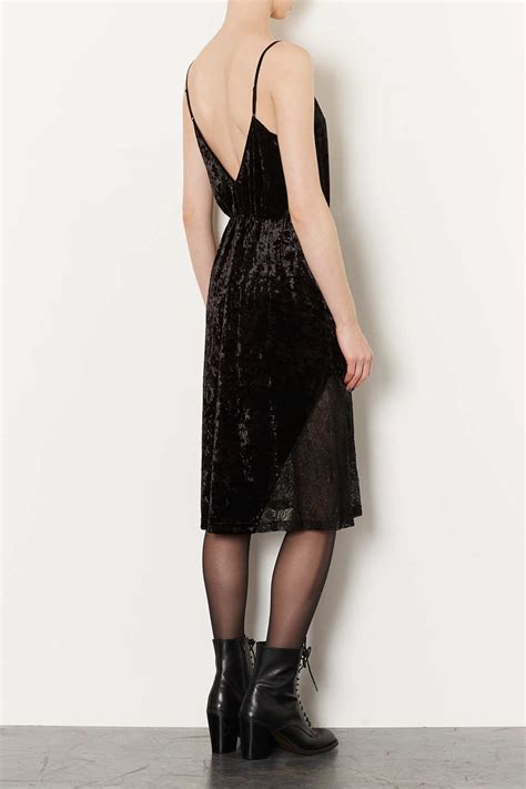 velvet midi dress et cetera lyst topshop velvet lace midi slip dress in black