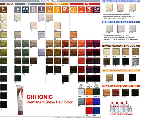 chi color shade chart for chi ionic hair color