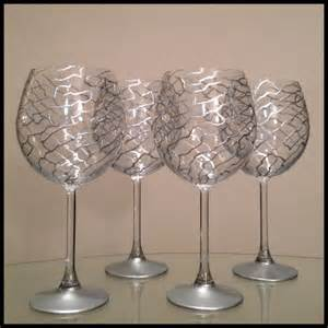 Custom hand painted wine glasses silver abstract design by ashley