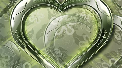 wallpaper green love crystal green love heart wallpaper 1366x768 resolution
