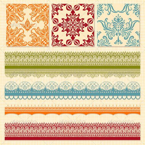 seamless ribbon pattern vector seamless floral patterns and lacy ribbons