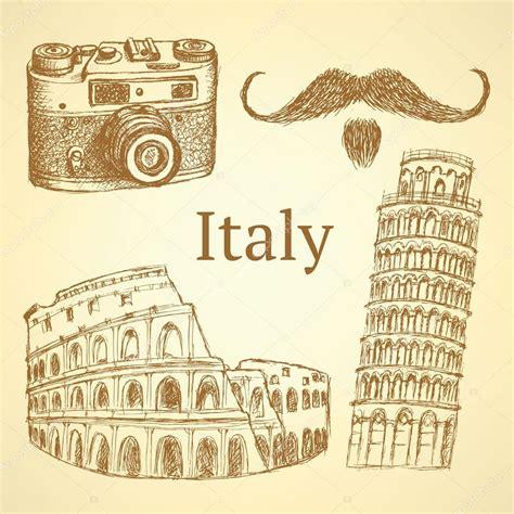 Imagenes Vintage Italia   dibujo conjunto de italia fondo vintage vector archivo