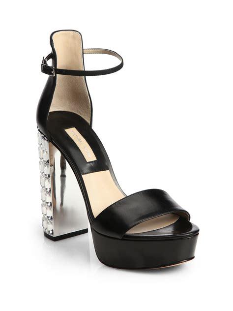 michael kors heel sandals michael kors heel leather platform sandals in