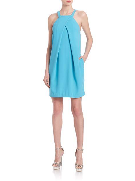 Felisha Dress felisha pleated halterneck dress in blue lyst