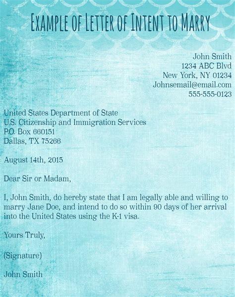 Uscis Exle Letter Of Intent k1 visa cover letter exle
