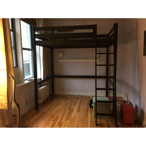 black loft bed with straight ladder for full size adult in