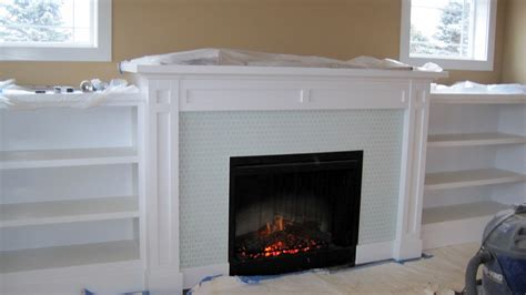 Built In Shelves Around Fireplace by White Electric Fireplace On Electric