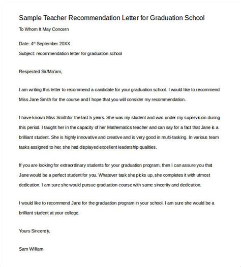 letters of recommendation for teacher 26 free sle