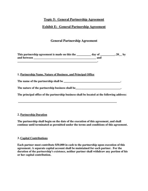 General Partnership Agreement In Word And Pdf Formats General Business Agreement Template
