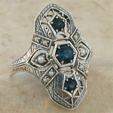 antique deco style genuine blue topaz 925 silver