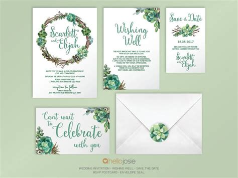 Wedding Invitation Stationery Sets by Succulent Woodland Boho Printable Diy Wedding Invitation