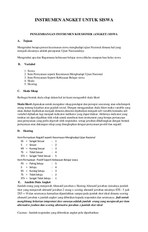 contoh membuat kuesioner penelitian contoh angket siswa terhadap guru contoh 36
