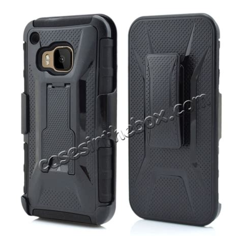 Htc M9 Future Armor Hardcase With Belt Clip Holster Casing Cove hybrid armor combo holster cover with belt clip stand for htc one m9 black 31639
