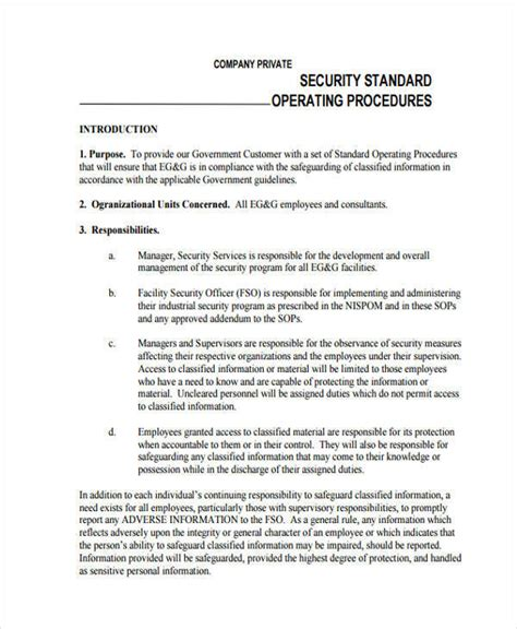 security procedures template 45 sop formats