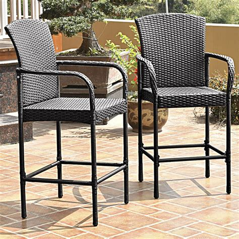 High Patio Chairs - 2 pcs rattan wicker bar stool dining high counter chair