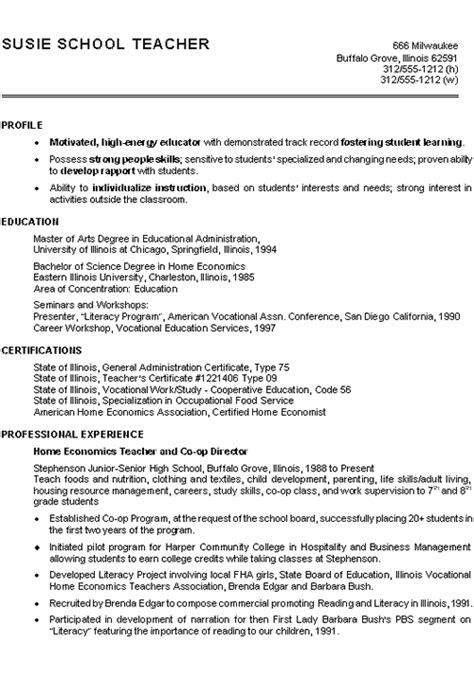 Example Of Resume For Teachers by Home Economics Teacher Resume Example