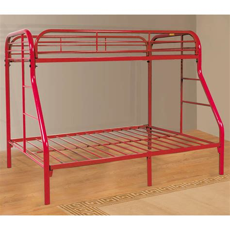 red bunk beds twin over full metal bunk bed powder coated red dcg