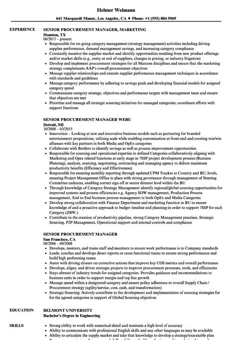 procurement manager cv format senior procurement manager resume sles velvet