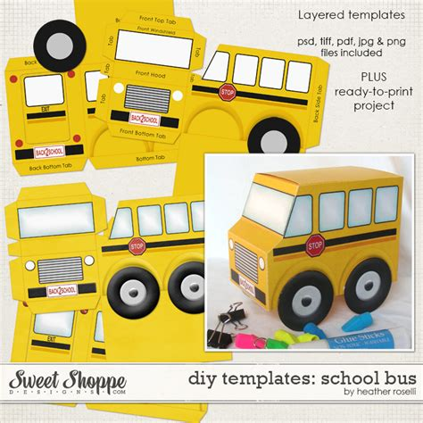diy printable templates school bus by heather roselli