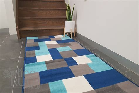 Modern Hallway Rugs Industry Blue Multicoloured Modern Tiles Rug Hallway Runner The Rug