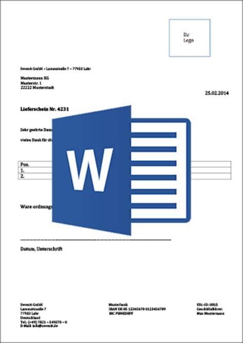 Word Vorlage Lieferschein Lieferschein Vorlage F 252 R Word Und Excel Als Kostenloser