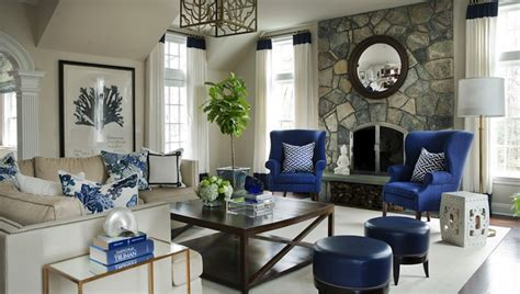 blue wingback chairs transitional living room