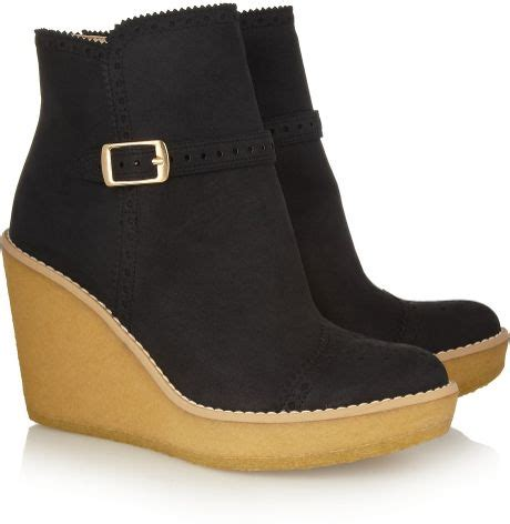 stella mccartney faux suede wedge ankle boots in black lyst