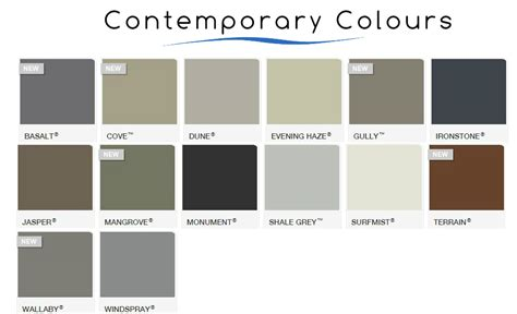 contemporary colors colorbond 174 colours