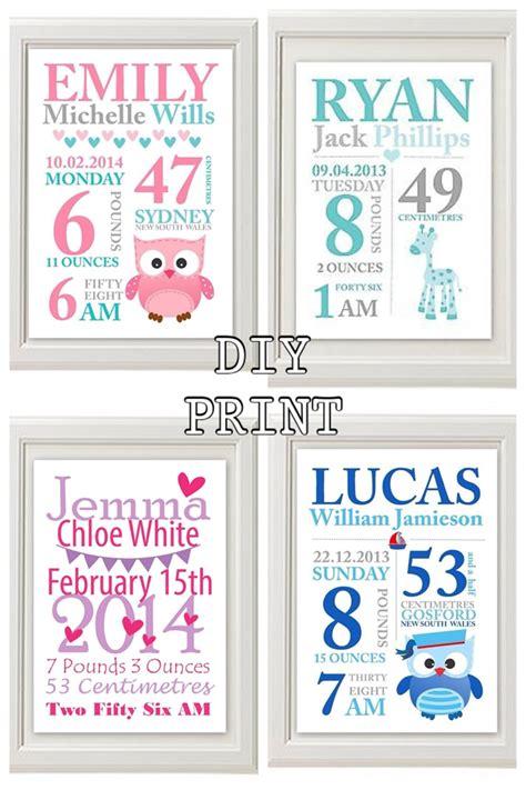 printable birth announcement wall art custom baby birth print announcement nursery wall art